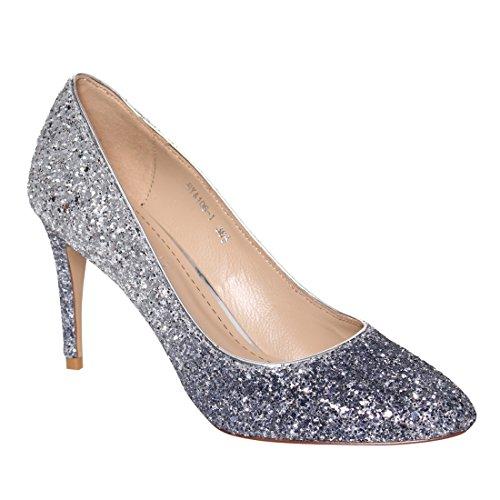 LANINI DE60 Women's Coarse Glitter Leather Stiletto Evening Dress Pumps Shoes, Color:GRADIENT GLITTER, Size:37.5 EU / 7.5 B(M) US