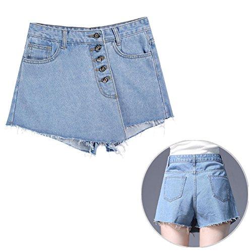 AMAWILL Women High Waisted Denim Shorts Skirts Frayed Raw Hem Button Loose Short Skirts