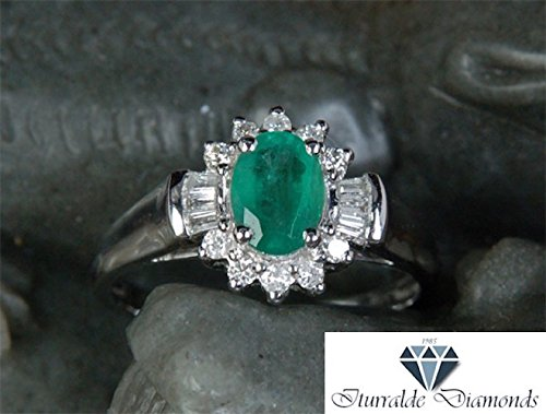 - 14k Oval Cut Emerald Flower Motif Diamond Halo Baguette Accent Engagement Ring