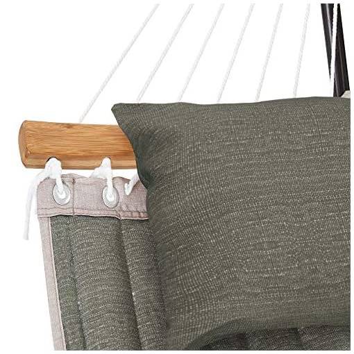 Garden and Outdoor Patio Watcher 11 Feet Quilted Fabric Hammock with Curved-Bar Bamboo and Detachable Pillow, Double Hammock Perfect for… hammocks
