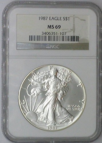 1987 American Eagle $1 MS69 NGC $1 Silver Eagle 1 Troy Oz Fine Silver .999 MS69 NGC