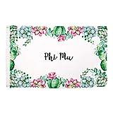 Phi Mu Succulent Flower Sorority Flag Banner 3 x 5 Sign Decor