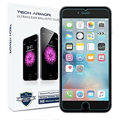iPhone 6S Plus Glass Screen Protector, Tech Armor Premium Ballistic Glass Apple iPhone 6S / iPhone 6 Plus (5.5-inch) Screen Protectors [1] from Tech Armor