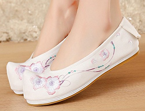 AvaCostume Womens Floral Embroidery Non-Slip Walking Flats Shoes White FUyYXaJwYe
