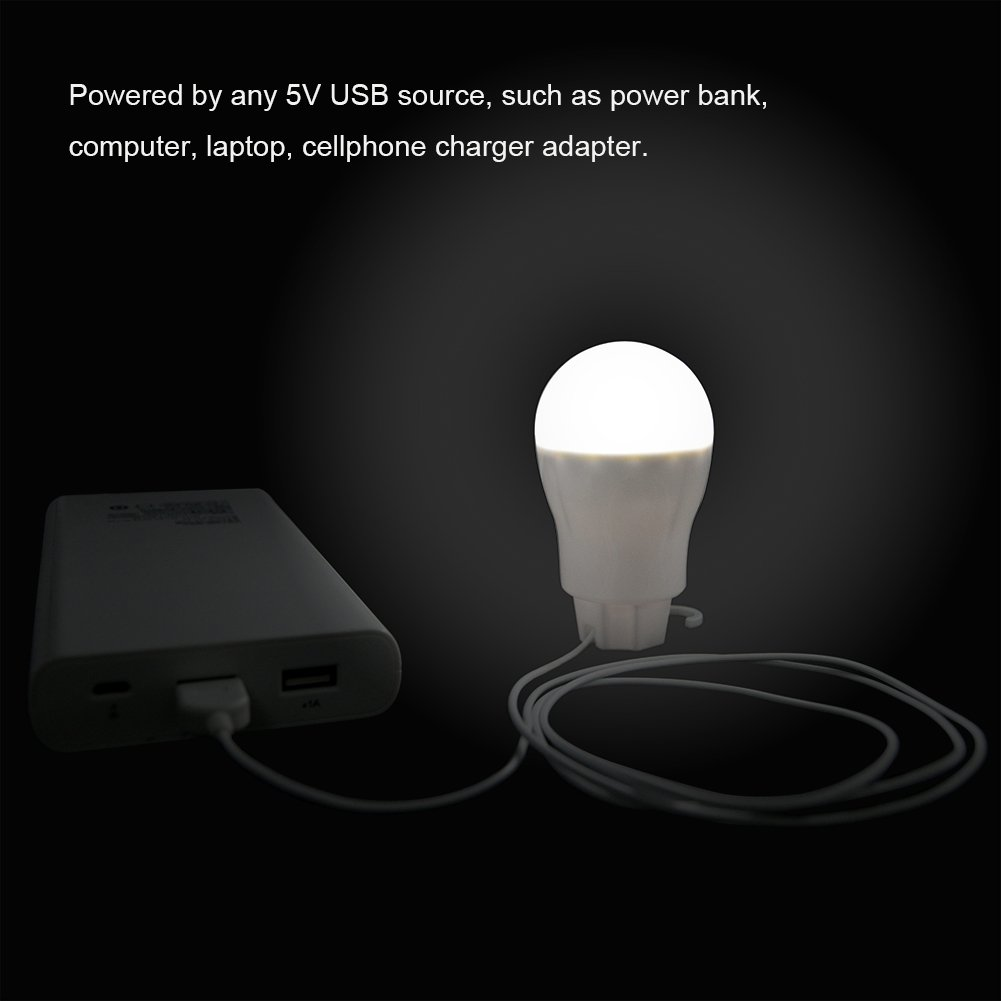LED Camping Bulbs for Camping Hiking Outdoor Emergency Lights 2.5W Bright 300 Lumens with 5 LED Beads