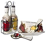 Original Cucina Italiana Ceramic Salad Bowl Set with Matching Olive Oil Bottles