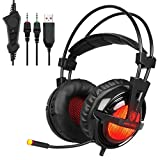 SADES A55 PRO 3.5mm Jack Lightweight Stereo Gaming Headset Headphones for Pro PC Gamer with Microphone LED Light Vibration and Volume-Control Mute Botton(Black&Red)
