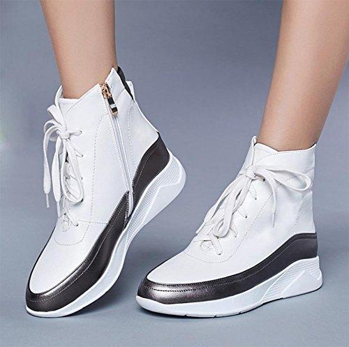 con señoras ocasionales con los de los estudiantes cordones deportes zapatos elevador botas los de del Los White Fall zapatos de las planos femenina zapatos URqSwFwx
