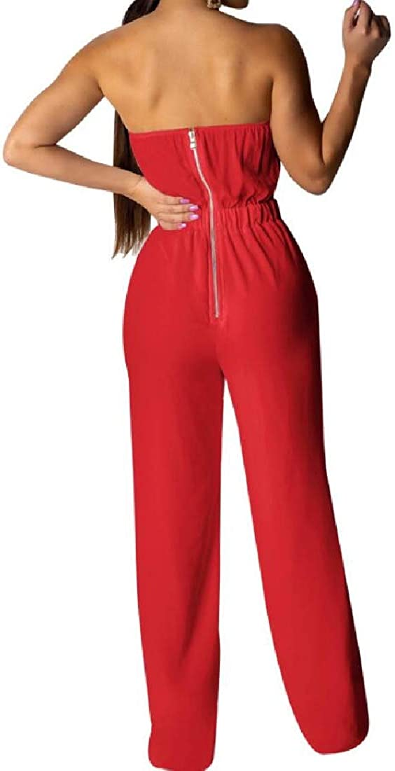xiaohuoban Women Fashion Two-Piece Outfit Romper Bandeau Top Flared Bell Bottom Pants Jumpsuits