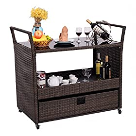 Giantex Rolling Wicker Cart Rattan Bar Cart Outdoo...