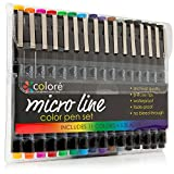 Image of Colore PRECISION Ultra Fine Tip Micro Line Pens – Waterproof & Vibrant Color Inking Pen Set With Variety Nib Sizes (16 Pack)
