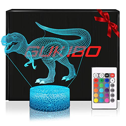 Night Light for Kids New Version 3D Jurassic Dinosaur Toy Lamp, Remote Control, Dimmable, Battery or USB Powered, 7 Colors Change Christmas Gift for Boys Girls Baby