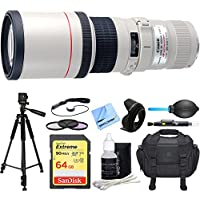 Canon EF 400mm 5.6 L USM Lens w/ Deluxe Accessory Bundle includes Lens, 64GB Extreme SD Memory Card, Tripod, 77mm Filter Kit, Lens Hood, Bag, Cleaning Kit, Beach Camera Cloth and More