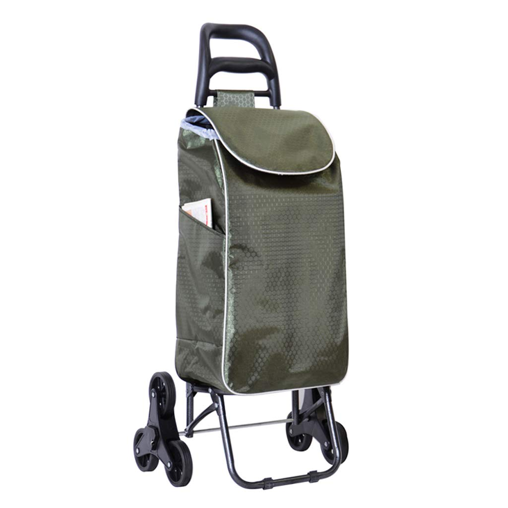 Trendy Folding Collapsible Push-Pull Carts JXXDDQ Lightweight Shopping Trolley Army Green