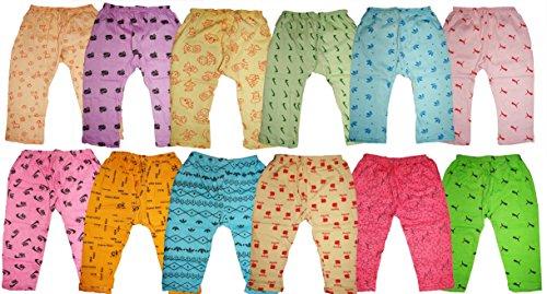KIFAYATI BAZAR Baby Boy's and Baby Girl's Cotton Bottom Wear Pyjama (Multicolour, 0-3 Months) – Pack of 12
