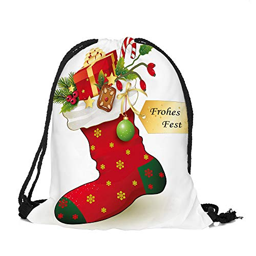 ✈ HYIRI Merry Christmas Candy Satchel Bag Drawstring Storage Bag -