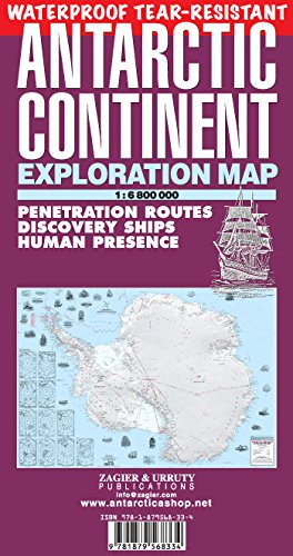 Antarctic Continent Waterproof Exploration Map