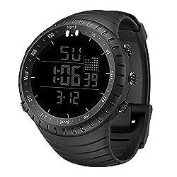 Fxbar, 30M Waterproof Men's Outdoors Sports Watch Simple Arabic Numerals Digital Sports Watch Stopwatch(Black)