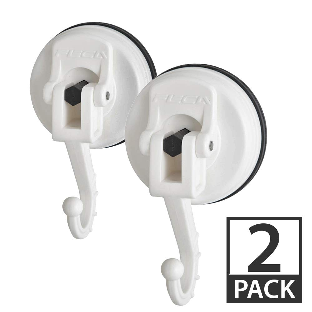 FE-H1012-2PK   2-PACK   Large Adjustable Swivel Suction Cup Hook Holds Up to 13 lbs, White