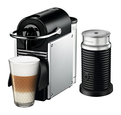 Nespresso Pixie Original Espresso Machine with Aeroccino Milk Frother Bundle by De'Longhi, Aluminum
