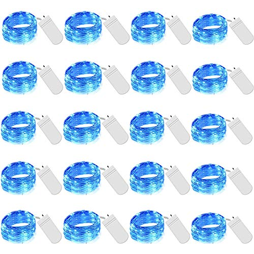 Cynzia 20 Pack 20 LED Micro Starry String Lights Battery Operated(Included),Fairy Waterproof Silver Wire Lights,for DIY Party Garden Wedding Table Indoor&Outdoor Decorations (Blue) (Lights Blue Fairy)