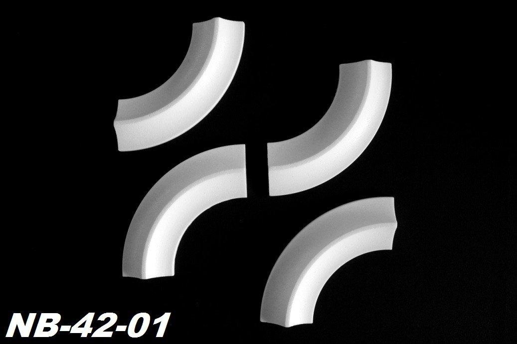 1 Set 4 St/ück Segmente B/ögen f/ür Flachleiste B-10 Rundb/ögen Stuck NB-10-01
