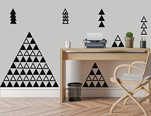 Easma Triangle Wall Decals  Modern Vinyl Triangles Pattern W