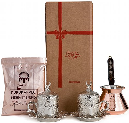 """CopperBull"" Thickest Copper Turkish Greek Coffee Pot with Heavy Duty Cups Saucers & Coffee Set for 2 (Silver)"