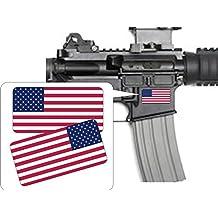 Pair - American Flags Patriotic Vinyl Decals   Stickers AR-15 AR15 Lower, Helmets, Hard Hats, Tool Box Motorcycle