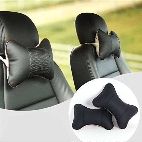 2x Car Neck Rest Cushion Headrest Seat Pillow Cover Comfortable Pad Universal PU Black color Free (Fossfill Standard Pillow)