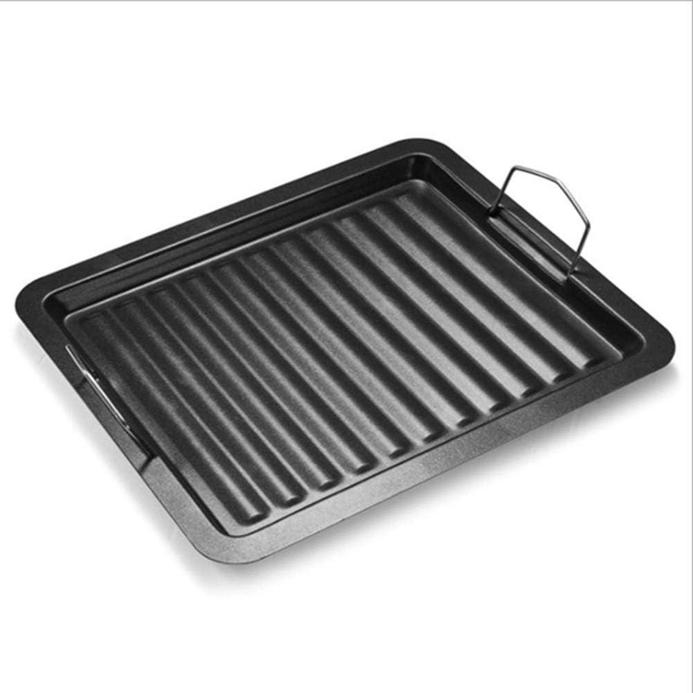 Fuyamp - Parrilla rectangular de hierro fundido con superficie de cocción estriada y asas dobles