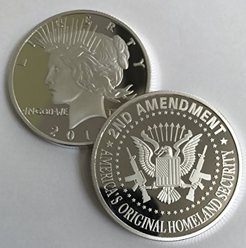 Aizics Mint 2nd Amendment Silver Liberty Round. Special One-of-a-Kind Coin for The Right to Bear Arms. 1922 Peace Dollar Design Silver - Peace Dollar Coin 1922