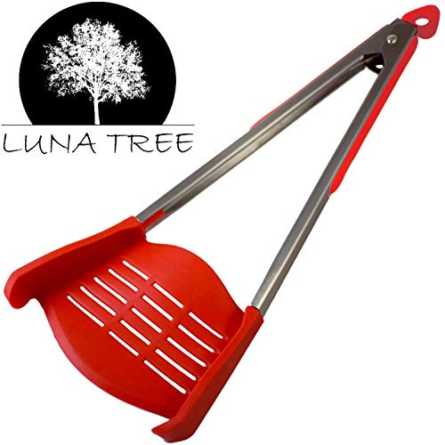 - NEW DESIGN 2 in 1 HUGE spatula tongs by LUNA TREE. NEW arrival MULTI FUNCTION HUGE cookware utensil for serving salad flipping pancakes, cooking, grilling barbeque, dining, scraper, buffet