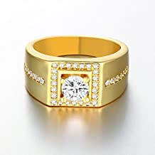Aries Gentleman Square Gold Plated Cubic Zirconia Wide Band Rings(8/9/10 sizes)