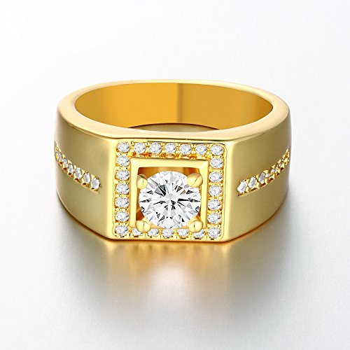 YiLinger Exquisite Men Jewelry Gold Plated Square White Cubic Zirconia Wide Band Rings