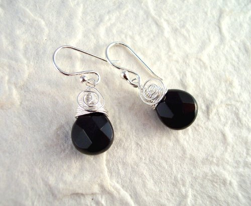 Briolette Crystal Drop Coil and Spiral Wrapped Sterling Silver Earrings, Black