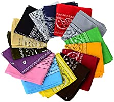 BSLINO Bandanas 24pcs 22 X 22 Inch 100% Cotton Novelty Double Sided Print Paisley Cowboy Bandana Party Favor Scarf...