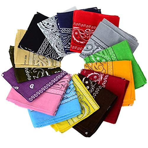 12pcs Bandanas 22 X 22 Inch 100% Cotton Novelty Double Sided Print Paisley Cowboy Bandana Party Favor Scarf Headband Handkerchiefs -
