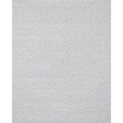 York Wallcoverings PT9051 Flared Scroll Paintable Wallpaper, White/Off Whites