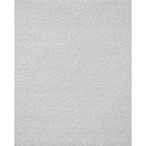 York Wallcoverings PT9051 Flared Scroll Paintable Wallpaper, Whites ()