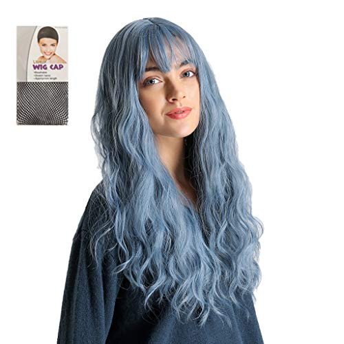 Franterd Women's Fashion Bangs Mixed Gradient Blue Long Curly Hair Heat Resistant Multi Wig for Halloween Party+Cap -
