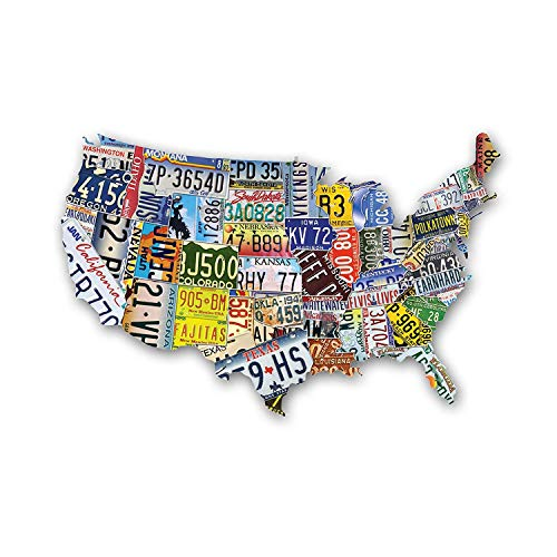 California Shaped Puzzle - USA License Plate Map 1000 Piece Jigsaw Puzzle in the Shape of the US - 31 inches long - Cool Wall Art