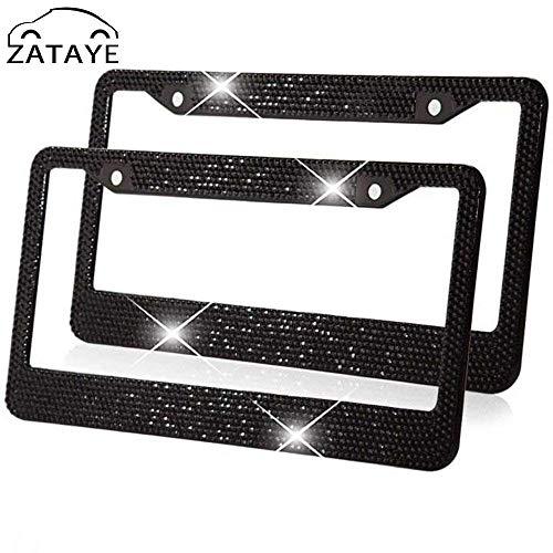 ZATAYE Bling License Plate Frame for Women Girl Rhinestones Tag Plate Frame for Car 2 Pack Bonus Matching Screws Accessories