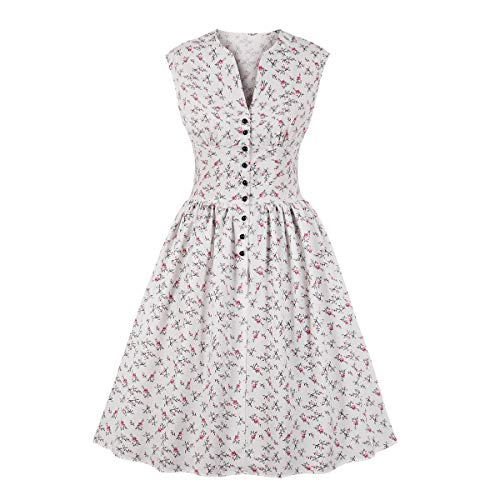 Wellwits Women's Split Neck Floral Button 1940s Day Vintage Tea Dress White 3XL