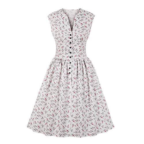 Wellwits Women's Split Neck Floral Button 1940s Day Vintage Tea Dress White M (Floral Vintage Dress)