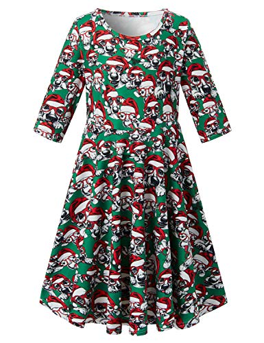 RAISEVERN Toddler Girl's Christmas Dress Xmas Donkey Santa Dog Print Pattern 3/4 Sleeve Green Dress for Kids 6-7 -