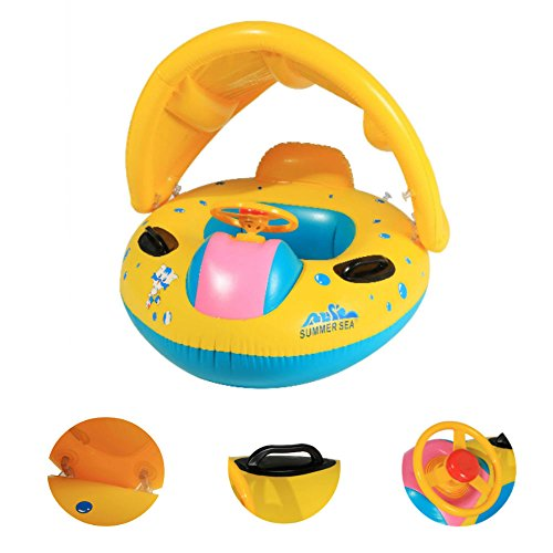 Creine Baby Pool Float Toys with Sunshade Inflatable Boat Swimming Laps, 1 to 3 Years, 2 Colors[US Stock] (Kiddie Boat)
