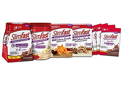 SlimFast Advanced Nutrition High Protein Kit, Contains Creamy Chocolate Ready to Drink Shakes, Vanilla Smoothie Shake Mix, Chocolate Smoothie Powder, Mesquite BBQ Chips, Cinnamon bun crisps, 5.7 lbs