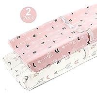 Cubiertas de almohadilla de cambio elástico-BROLEX Paquete de 2 fundas de almohadilla de cambio de punto de jersey para niñas, flecha rosa y blanca