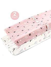 Stretchy Changing Pad Covers-BROLEX 2 Pack Jersey Knit Change Pad Covers For Girls Boys,Pink & White Arrow BOBEBE Online Baby Store From New York to Miami and Los Angeles